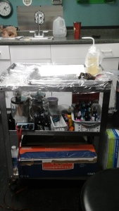 The tattoo artists work station.