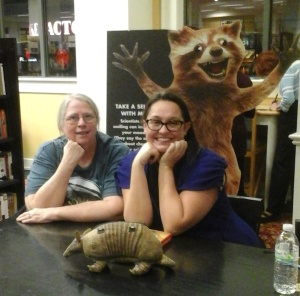 Back row: Rory, the Furiously Happy Raccoon; middle row: me, Jenny Lawson; front row: Erma the Armadillo
