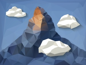 Low polygonal shape mountain background with clouds.