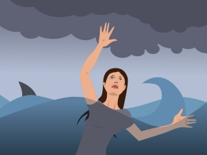 Portrait of a young woman drowning, shark fin on the background