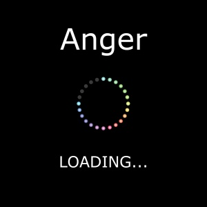 A LOADING Illustration with Black Background - Anger