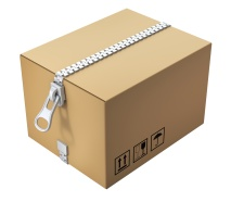 Cardboard box with the zipper isolated on white background